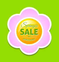 spring sale discount flower on green background vector image