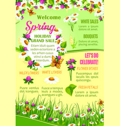 Spring sale of flowers poster template design vector