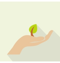 Sprout in hand flat icon vector