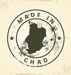 Stamp with map of Chad vector image