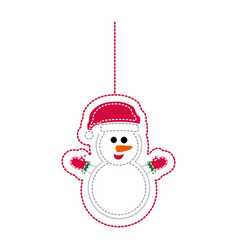 sticker shading snowman with scarf and gloves vector image