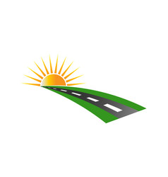 sunset road pavement logo vector image
