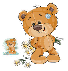 teddy bear hides behind back a bouquet of vector image