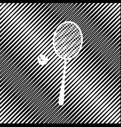 Tennis racquet with ball sign icon hole vector