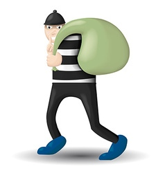 Thief carrying bags vector
