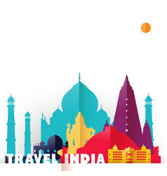 travel india country paper cut world monuments vector image