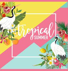 tropical crane bird lemon pomegranate fruits vector image