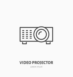 video projector flat line icon multimedia vector image