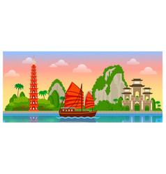 vietnam skyline with colorful buildings and dawn vector image