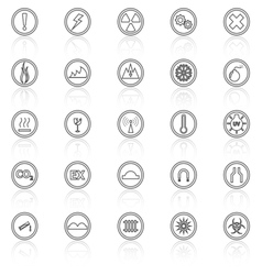 Warning sign line icons with reflect on white vector image