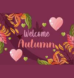 welcome autumn leaves season image vector image