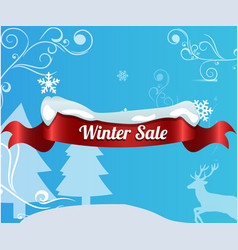 Winter sale background with red realistic ribbon vector