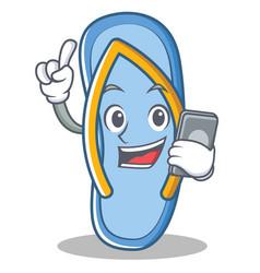 With phone flip flops character cartoon vector