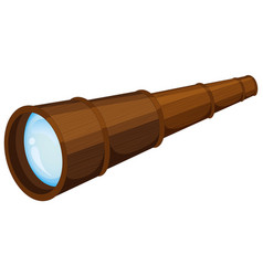 wooden telescope on white background vector image