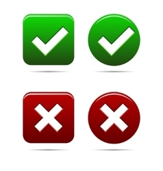 yes no buttons green an red vector image
