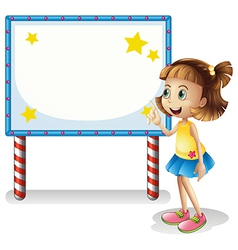A child near the empty board with series lights vector image vector image