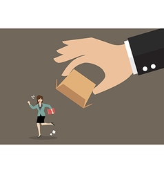 Business woman running away from cardboard box vector image vector image
