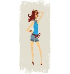Fashion girls in shorts vector