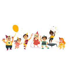 flat cartoon kids at party set vector image vector image