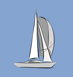 hand drawn white sailboat vector image