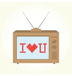 I love you retro television vector image vector image