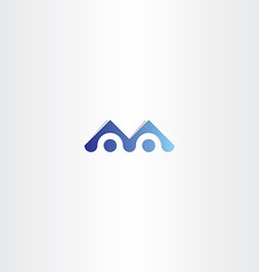 letter m blue logo sign element vector image vector image