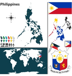 Philippines map world vector image