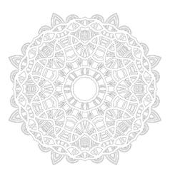 Round ornament for coloring books black white vector