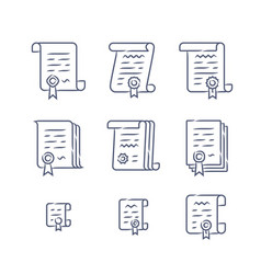 contract linear icons vector image vector image