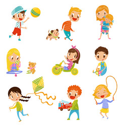 cute boys and girls doing sports and playing set vector image vector image