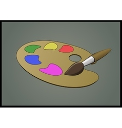Flat of Color Pallete and Brush vector image vector image