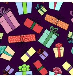 Gift box seamless pattern vector image vector image