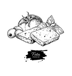 Greek feta cheese block slice drawing hand vector