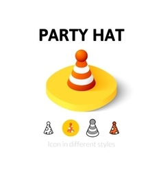 Party hat icon in different style vector image