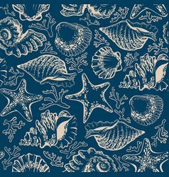 seamless pattern seashells starfish and corals vector image vector image