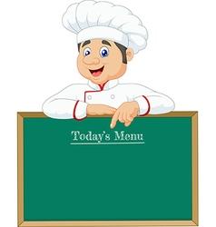 Cartoon chef cloche pointing at menu board vector