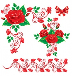 decorative roses vector image vector image