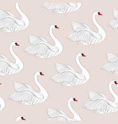 seamless pattern with white swans white bird vector image vector image