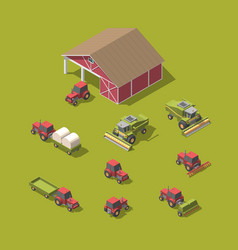 set of agricultural machinery and workshop vector image
