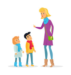 woman explaining rules for attentive children vector image