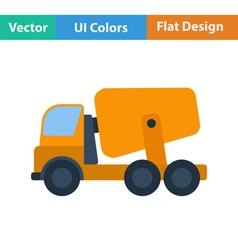 Flat design icon of Concrete mixer truck vector image vector image