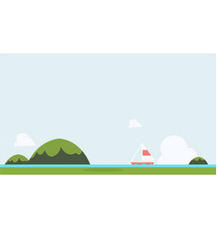 flat nature landscape with sailboat and sky vector image