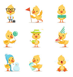 Little yellow duck chick different emotions and vector