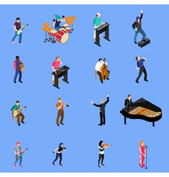 Musicians People Isometric Icons Set vector image