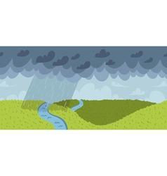 Rainy landscape seamless pattern vector image