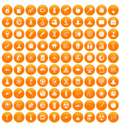 100 space icons set orange vector