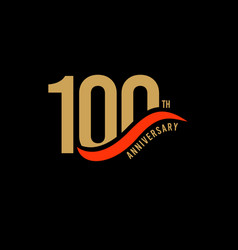 100 year anniversary gold template design vector