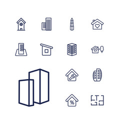 13 apartment icons vector