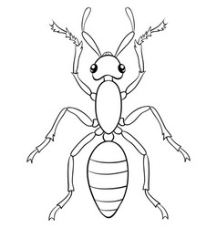 A children coloring bookpage cartoon ant image vector