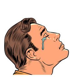 A crying man human emotions sad mood sadness vector